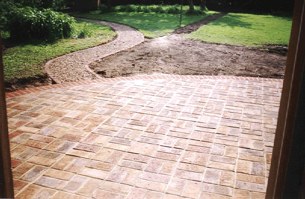 basket weave brick work patio