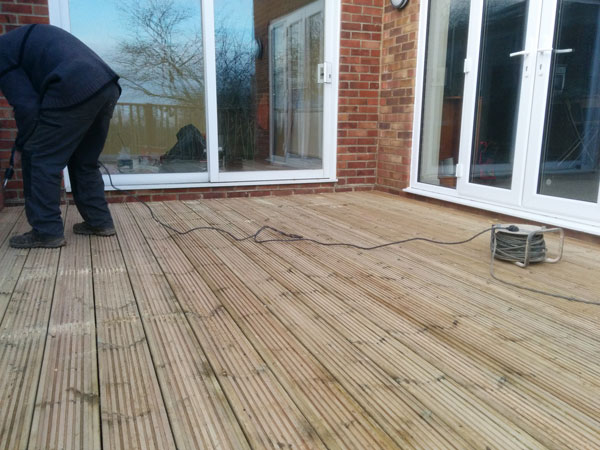 deck secured by deck screws over tanalised joists