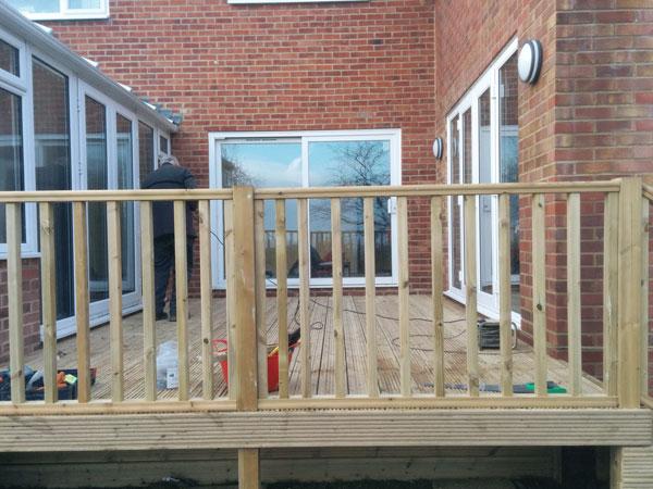 raised  deck with ballustrading