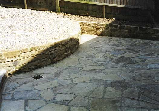 york walling and crazy paving laid
