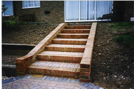 formal straight flight of brick steps