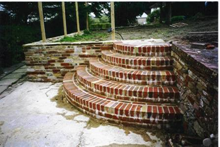 Ditchling multi coloured brick steps