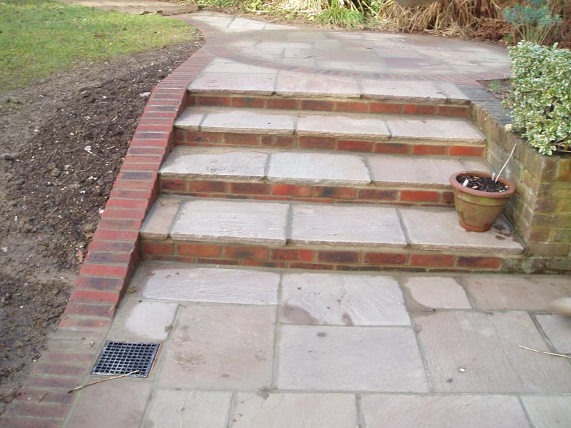 brick and stone steps