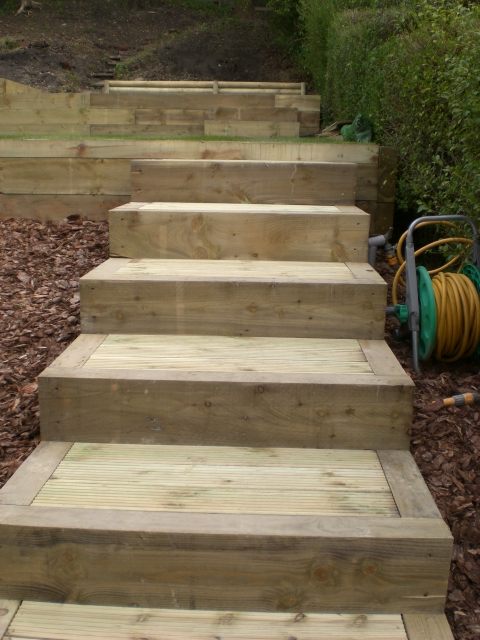 Brick steps railway sleeper steps garden steps landscape for Garden decking sleepers