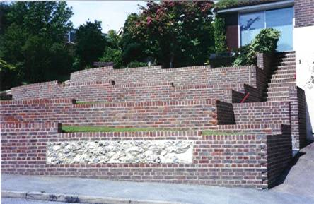 Ovingdean, flint panels in stock brick walls
