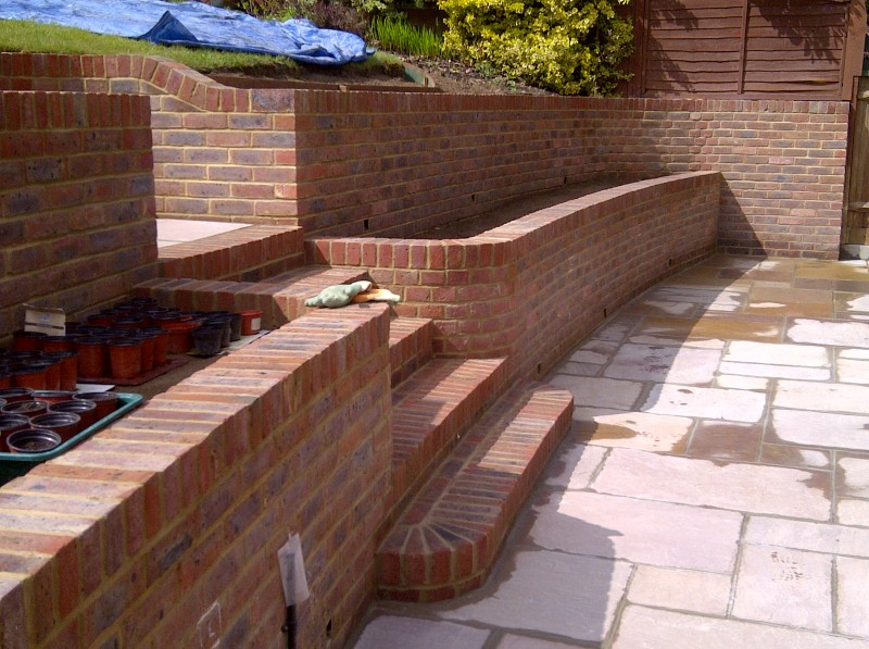 curved walling and steps