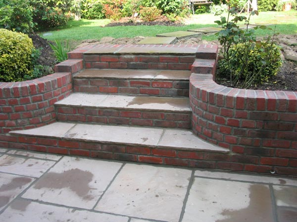 Set of raj steps within stock brick walling