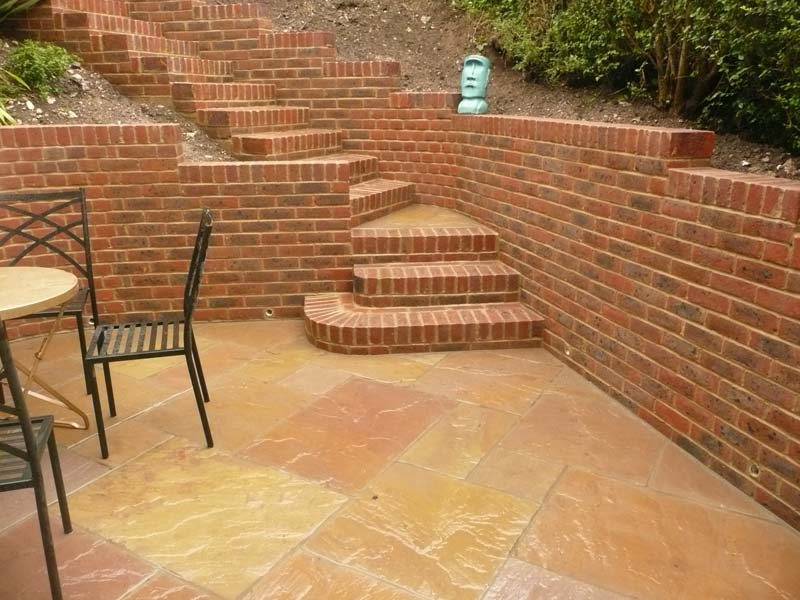 Brighton walling, steps and raj patio